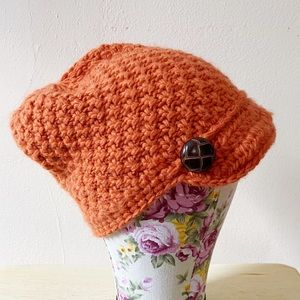 Evergreen Enterprise Orange Button Baker Boy Cap